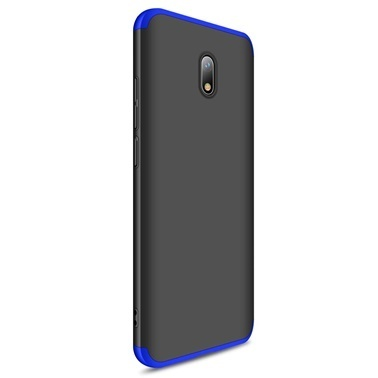 Microsonic Xiaomi Redmi 8A Kılıf Double Dip 360 Protective Siyah Mavi Mavi